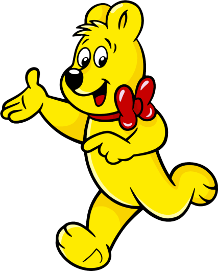Illustration of the sour Haribo Gold Bear Bags: HARIBO Bear with eyes closed in a jump