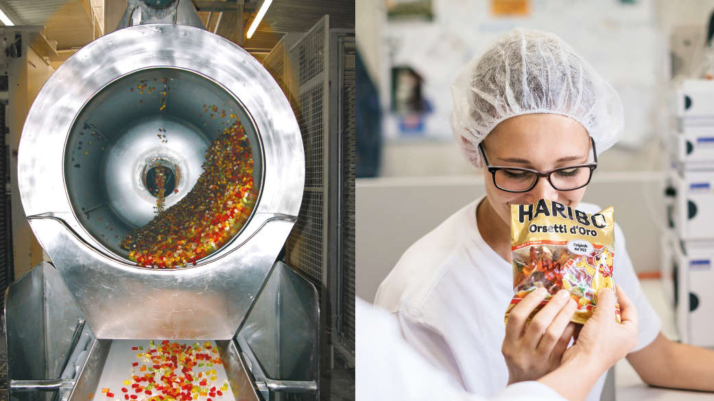 Tamburo di lucidatura con caramelle gommose alla frutta; la dipendente controlla la qualità del sacchetto di caramelle gommose alla frutta