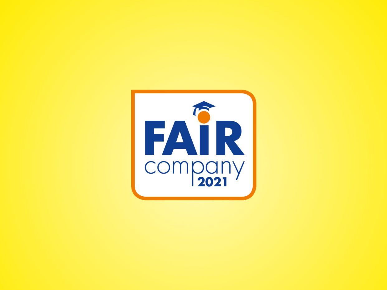 Logo der Arbeitgeberinitiative Fair Company auf gelben Hintergrund