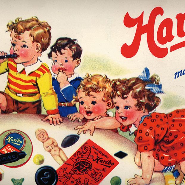 Historic HARIBO advert with kids enjoying fruit gummies and liquorice specialties.