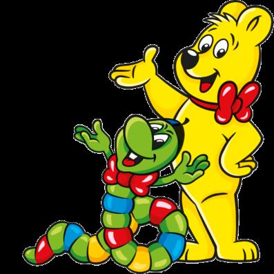 Ilustrace sáčků Wummis: Medvídek HARIBO s žížalkou Wummis