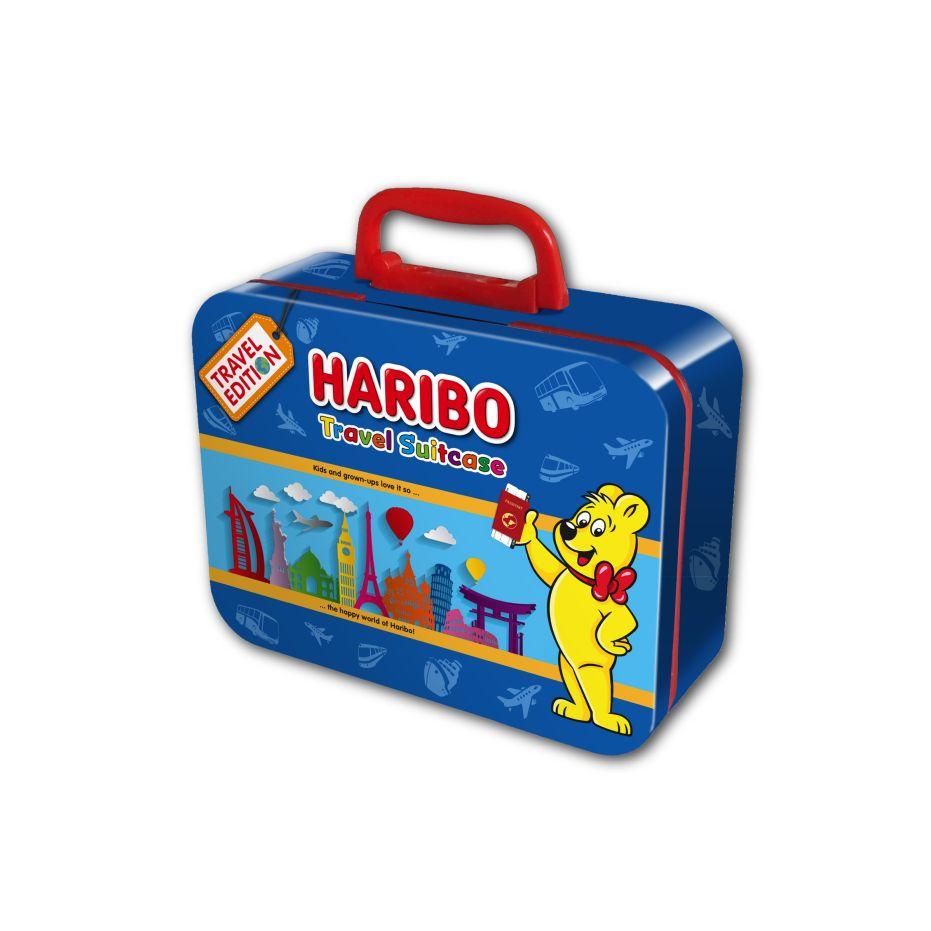 Blue suitcase with HARIBO Goldbear