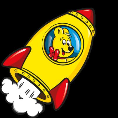Illustratie van de Starmix zak: HARIBO beer zit in raket