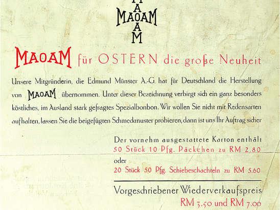 Gedrukte verkoopinformatie over nieuwe product MAOAM van Pasen 1931