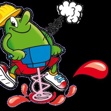 Illustration der MaoMix Beutel: Maoam Maskottchen mit Presslufthammer und Baustellen Mütze