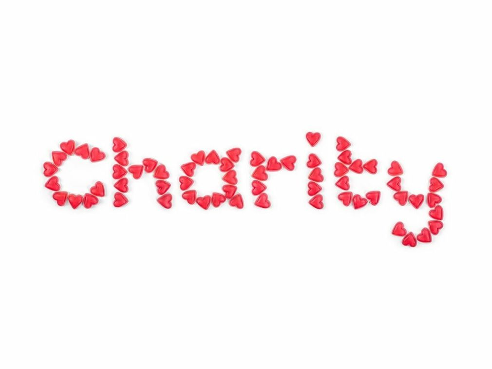 Charity spelled with hearts