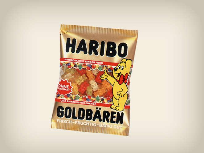 Embalagem de Ursinhos de Ouro de 1989, ursinho de ouro com laço vermelho