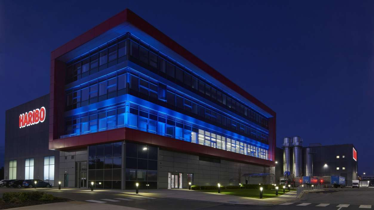 Castleford factory with blue light