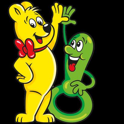 Illustration der Kinder Schnuller Beutel: HARIBO Bär und grüner Schnuller geben sich High Five