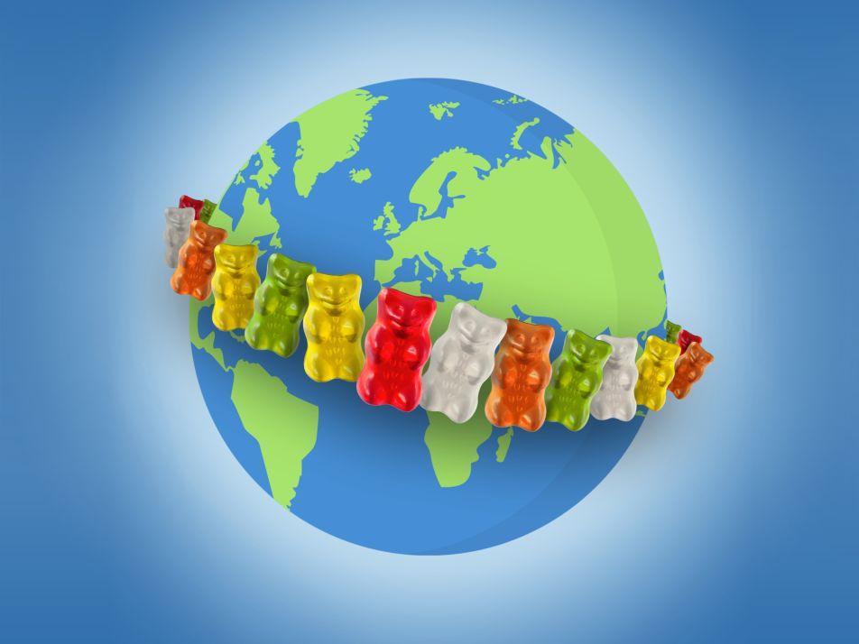Illustratie Goldbären omarmen wereldbol