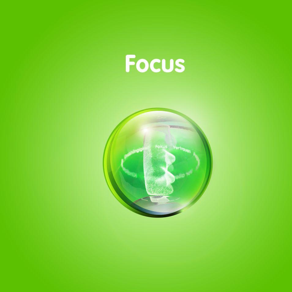Изображение золотого мишки в прозрачном шаре на зеленом фоне с текстом «Фокус внимания»