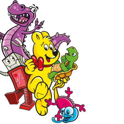 Illustration der Haribo Phantasia Beutel: HARIBO Bär mit Reptilien und einem Roboter