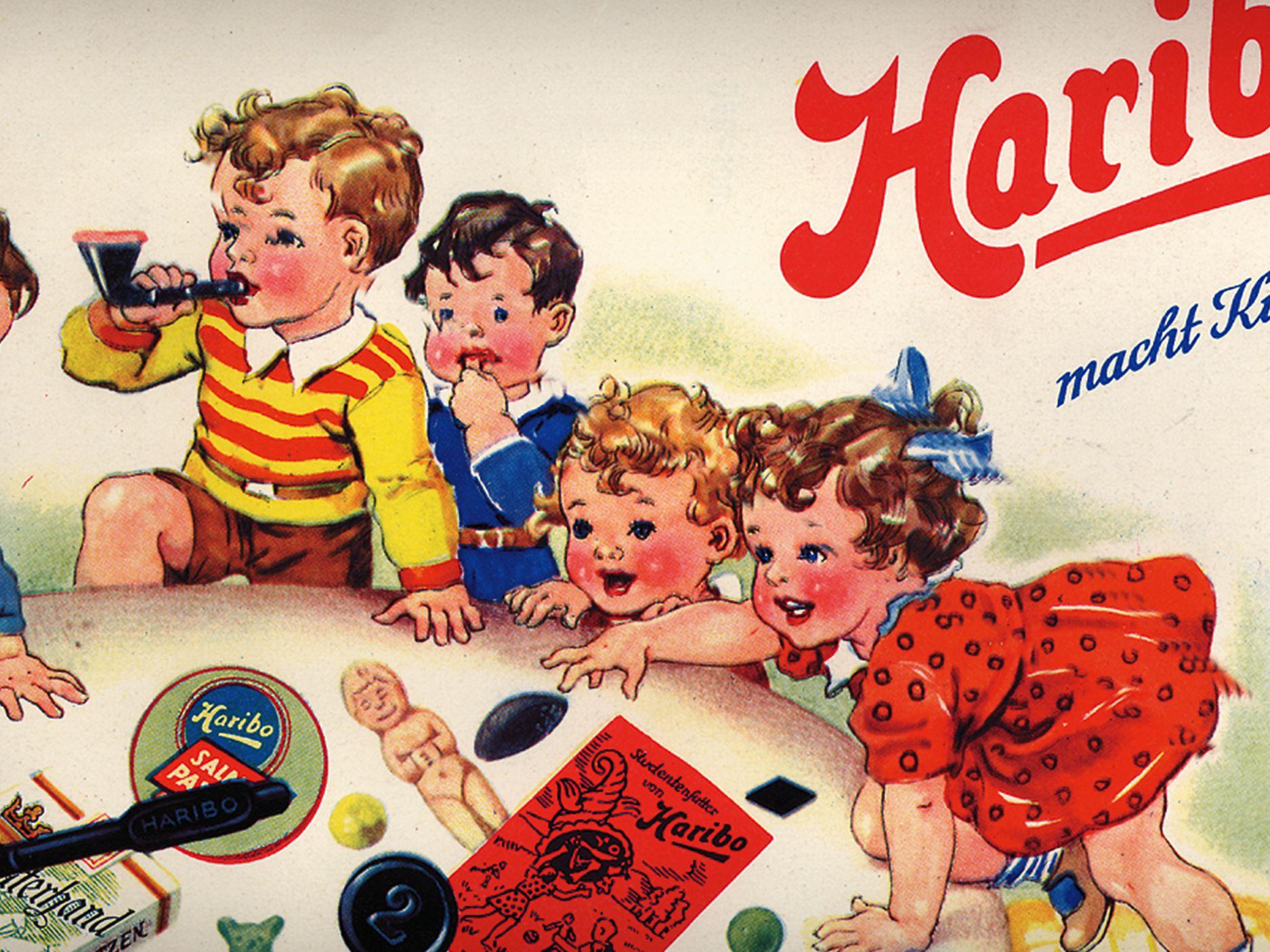 昔のHARIBO広告。グミベアやリコリスで遊ぶ子供たち