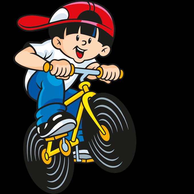 Illustration der Lakritz Schnecken Beutel: Junge auf Fahrrad mir Lakritz Schnecken Rädern
