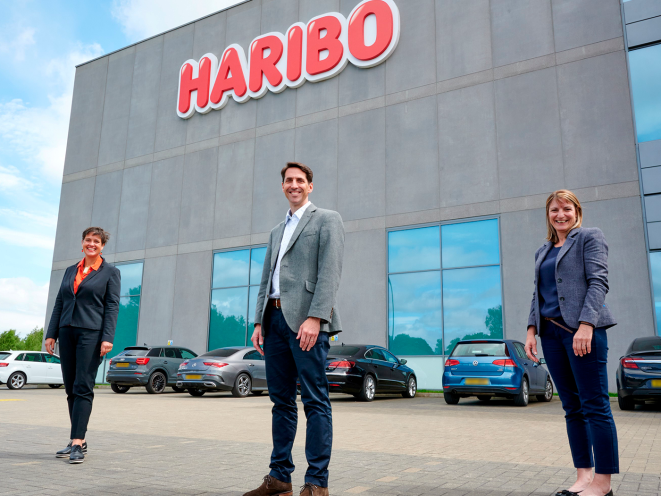 Representatives of Leeds Community Foundation and HARIBO in front of HARIBO building