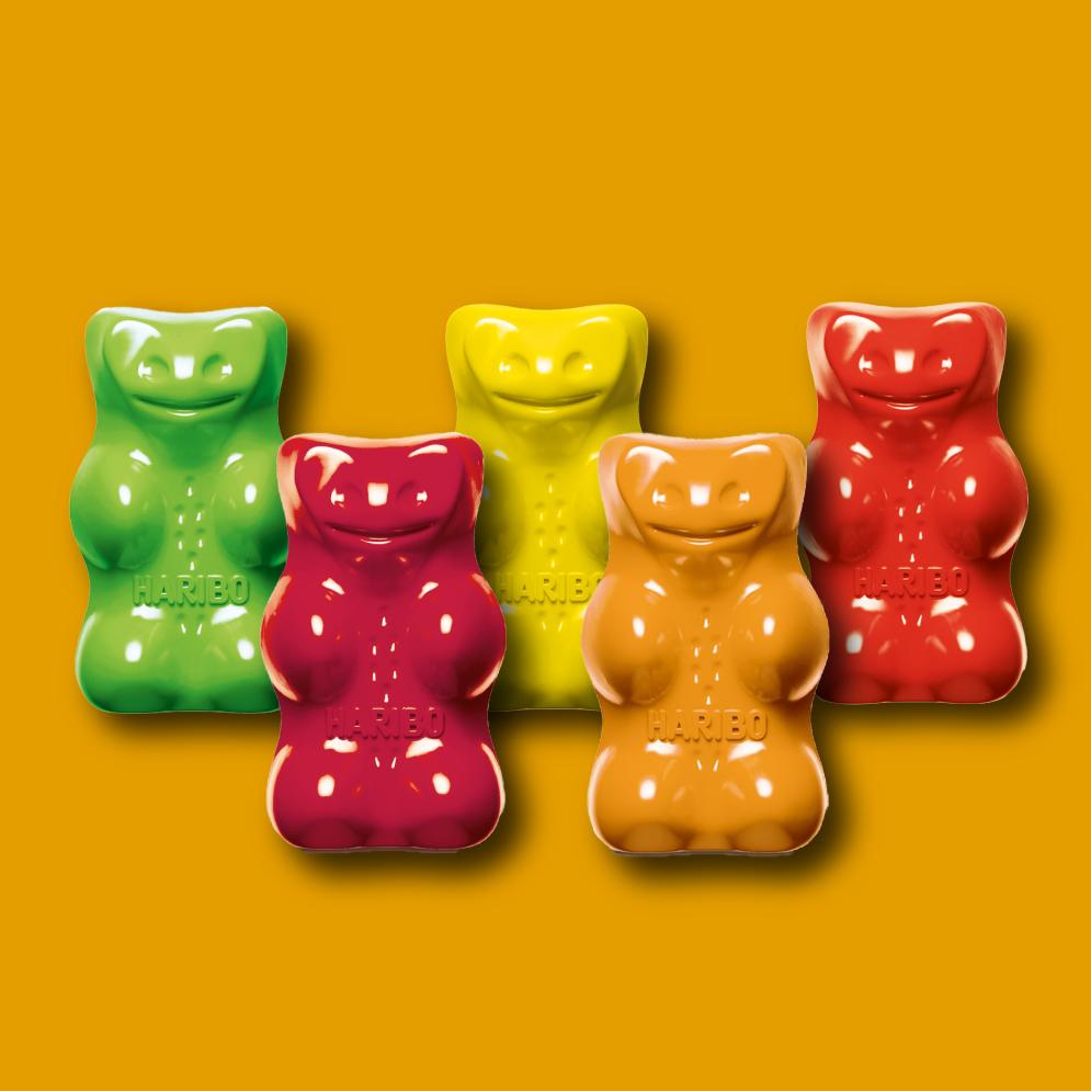 Five HARIBO goldbears in different colors