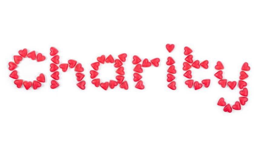 Charity written with hearts