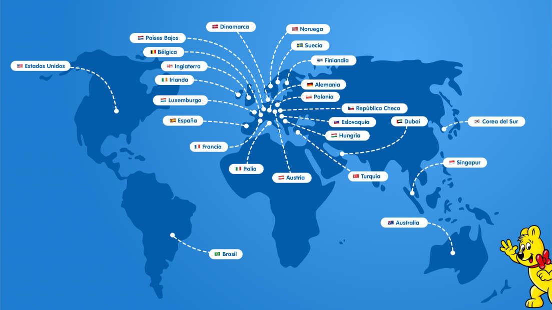 Mapa ilustrado con todas las sucursales HARIBO en todo el mundo