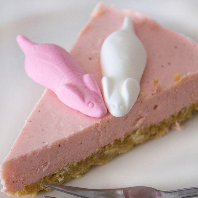 Rosa Stück süße Mäuse Cheesecake verziert mit 2 Schaumzucker-Mäusen