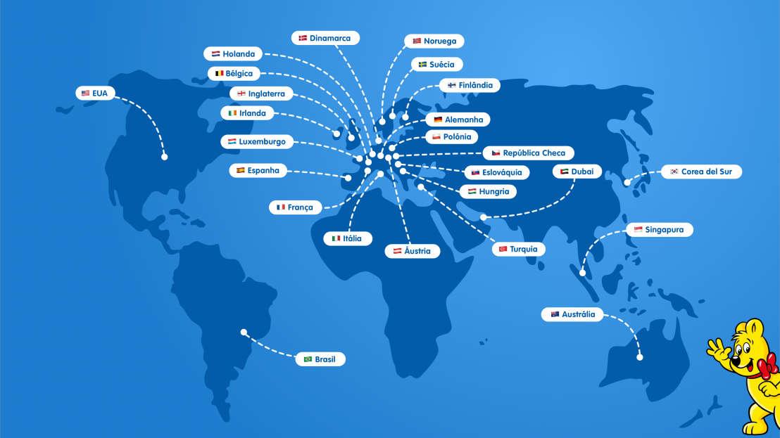 Mapa ilustrado com todas as filiais HARIBO em todo o mundo