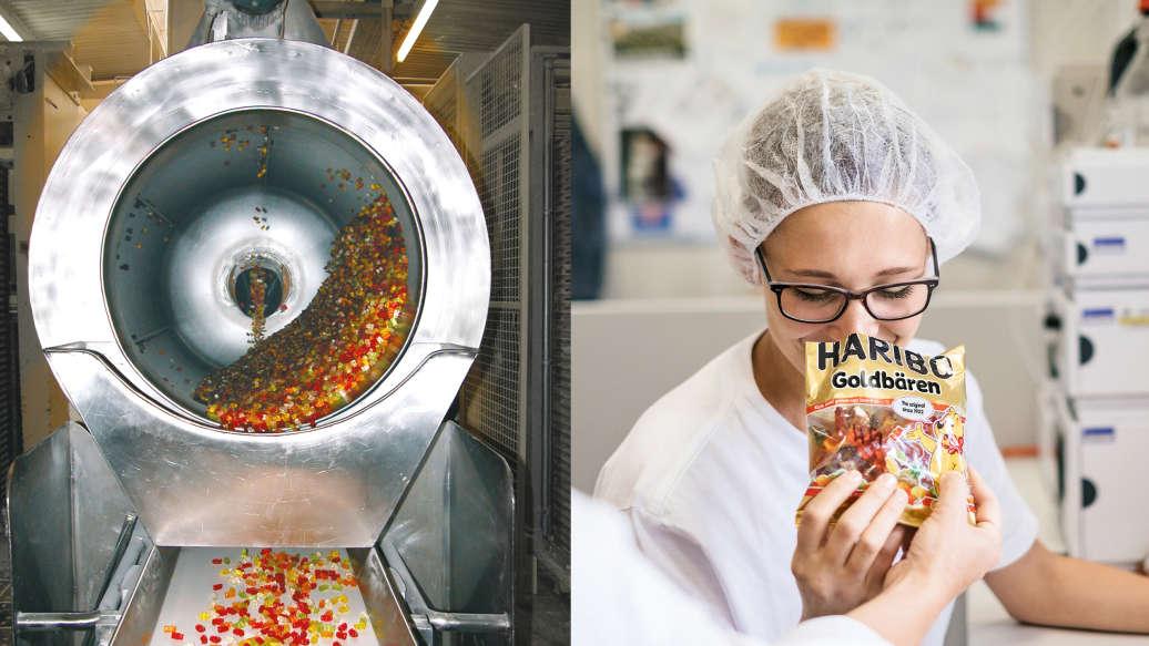 Polírozó dob gyümölcsös gumicukorral, munkatársnő ellenőrzi a gyümölcsös gumicukor csomagok minőségét