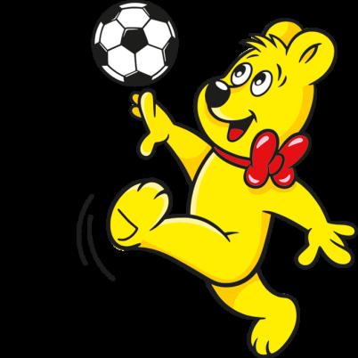 Illustration der Pico-Balla Beutel: HARIBO Bär spielt Fußball