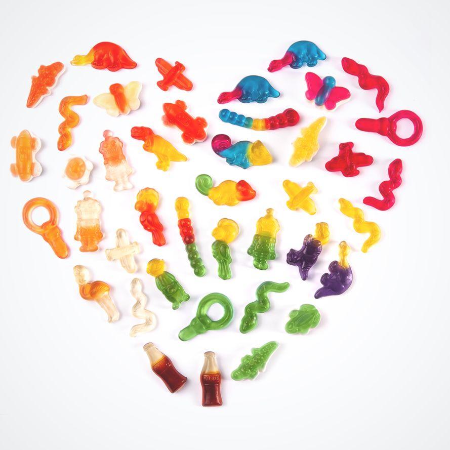 Herz aus bunten Phantasia Produktstücken