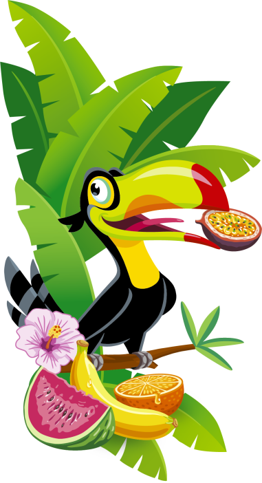 Ilustrace sáčků Tropifrutti: Tukan s tropickým ovocem