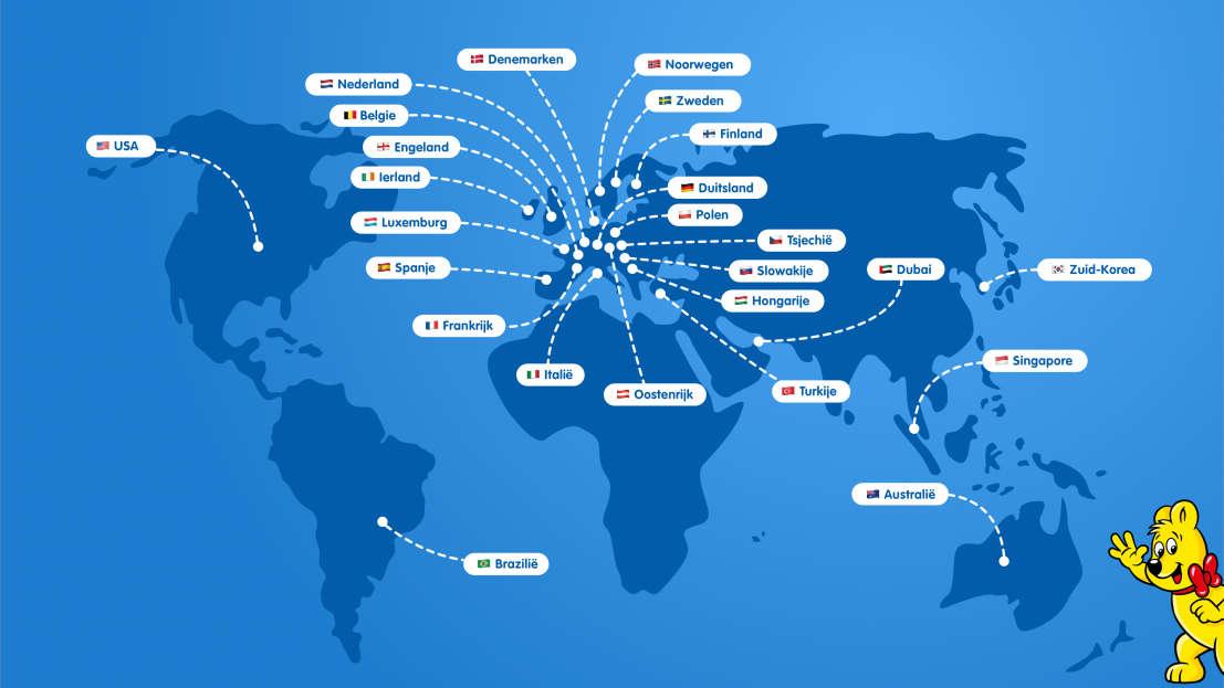 Geïllustreerde kaart met alle HARIBO-vestigingen over de hele wereld