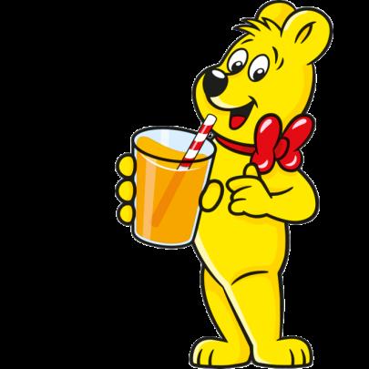 Illustration der HARIBO Saftbären Beutel: Bär hält Saftglas mit Strohhalm