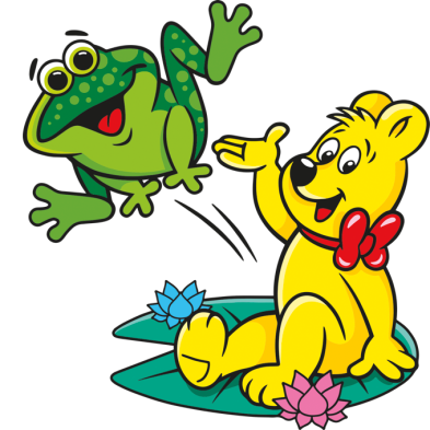Illustration der Quaxi Beutel: HARIBO Bär sitzt auf Seerosenblatt und springender Frosch
