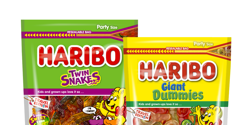 Bags of HARIBO Twin Snakes and Giant Dummies in travel retail size