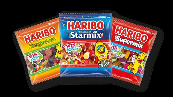 Bags of HARIBO Tangfastics, Starmix, Supermix