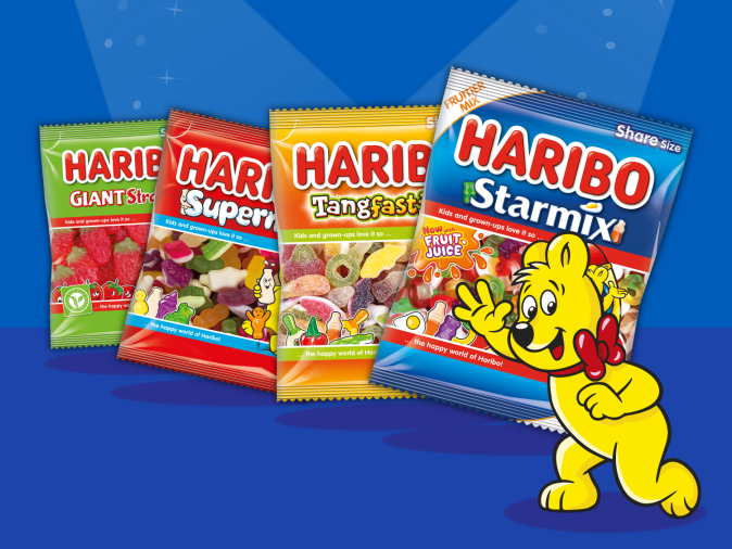 Haribo products on blue background