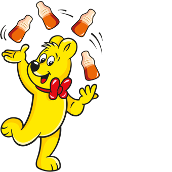 Illustrated Goldbear with Happy Cola bottles