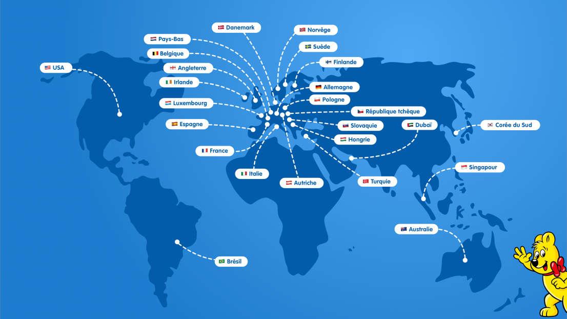 Carte illustrée avec toutes les succursales HARIBO dans le monde