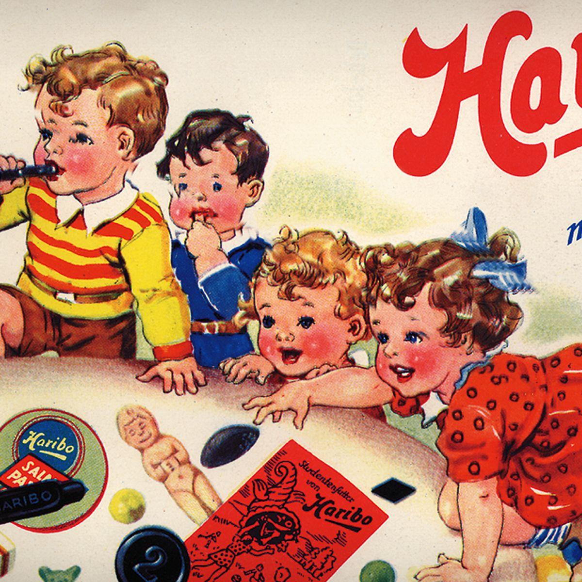 子供が遊んでいる様子を描いたHARIBOの歴史的な広告