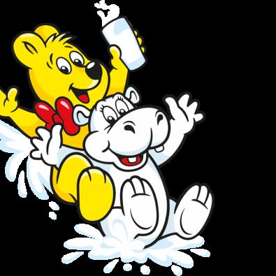 Illustration der Milpferde Beutel: weißes Nilpferd und HARIBO Bär mit Milchglas