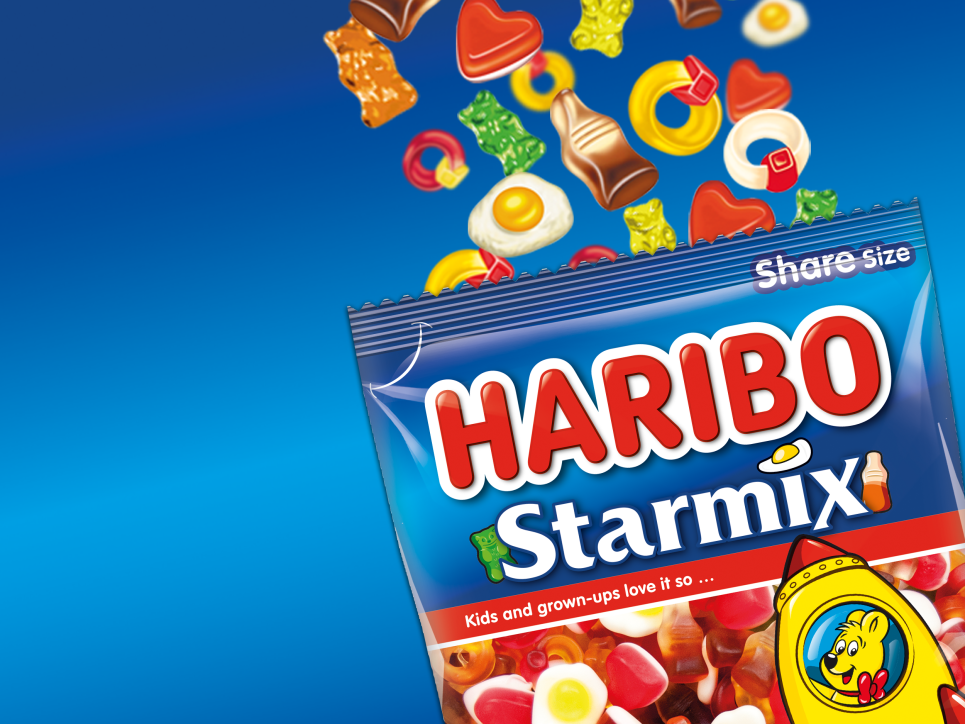 Bag of HARIBO Starmix and different gummi pieces