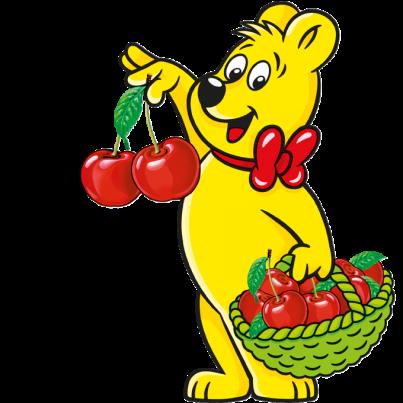 Illustration der Happy Cherries Beutel: HARIBO Bär hält einen Korb voll Kischen