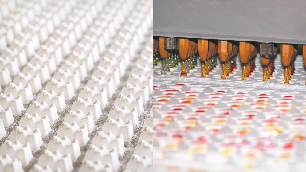 Carimbos de gesso em formato de ursinhos e moldes negativos preenchidos com goma