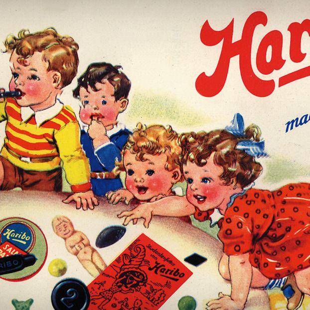 Ancienne publicité de HARIBO : illustration avec des enfants qui jouent