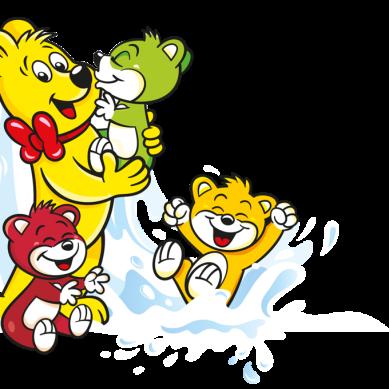 Illustration der Haribo Milchbären Beutel: HARIBO Bär mit bunten Milchbären und spritzender Milch