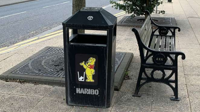 Photo of community bin with HARIBO Goldbear print