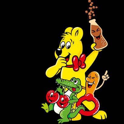 Illustration der Tangfastics Beutel: HARIBO Bär mit Colaflasche, Schnuller, Korokodil und Kischen