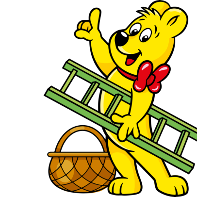 Happy peaches goldbear ladder basket