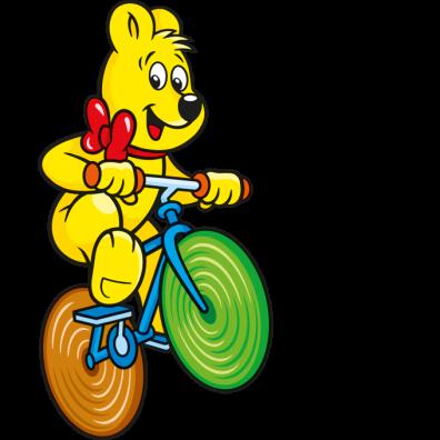 Illustration der HARIBO Bunte Schnecken Beutel HARIBO Bär auf Fahrrad