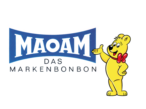 MAOAM-logo en HARIBO goudbeer