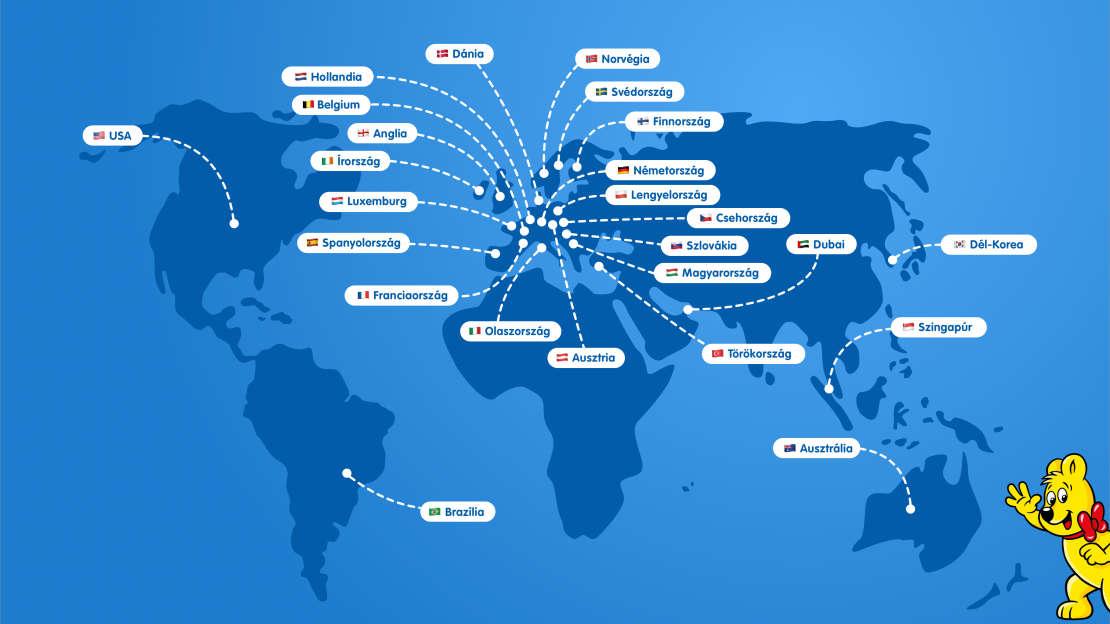 Térkép a világ összes HARIBO leányvállalatával