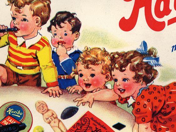 Historic HARIBO advert, a drawing of kids enjoying fruit gums and liquorice specialties.